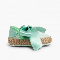 Espadrille Linen Style Mary Janes  Apple green