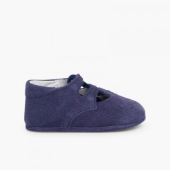 Suede Lace-Up Baby Oxfords  Deep Blue
