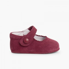 Baby Suede Velcro Mary Janes  Burgundy