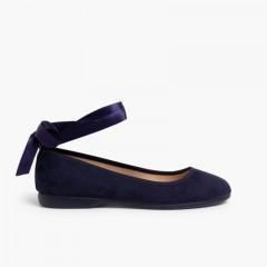 Ballet Pumps Satin Bow Anklet Strap Navy Blue