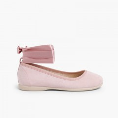 Ballet Pumps Satin Bow Anklet Strap Pale Pink