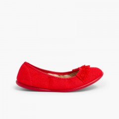 Laced Linen Ballet Pumps Red