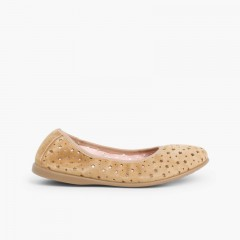Suede Ballet Pumps With Elastic And Star Punch Hole Detail  Beige