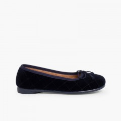Velvet Ballerina Pumps Padded  Navy Blue