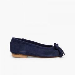 Suede Tassel & Bow Ballet Pumps Blue