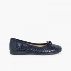 Snake Print Ballet Pumps Navy Blue