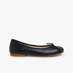 Leather Ballerina Shoes for Women and Girls Black