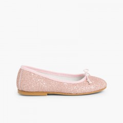 Girls & Womens Glitter Ballerina Shoes Pink