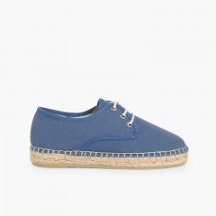 Canvas Bluchers with Rope Sole Blue