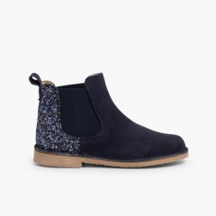 Girls Chelsea Boots with Glitter Navy Blue