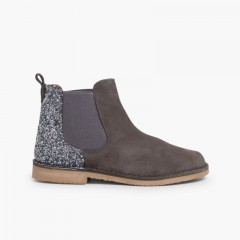 Girls Chelsea Boots with Glitter Grey