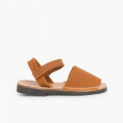 Nubuck Avarcas Menorcan Riptape Sandals Brown