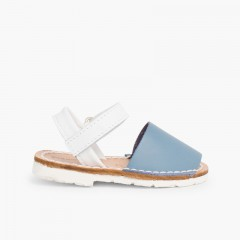 Kids Two-Tone Avarca Menorcan Sandals with Velcro - Special Edition White Sole Airforce blue