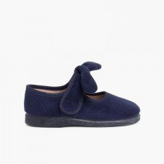 Girls loop fasteners Bow Angelito Mary Janes Navy Blue