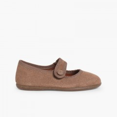 Girls Suede loop fasteners Mary Jane Shoes Taupe