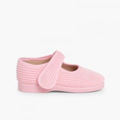 Girls Corduroy Mary Jane Slippers Pink