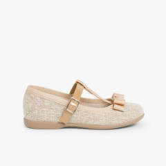 Bow strap Mary Janes Linen
