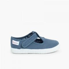 Boys T-Bar Velcro Shoes Blue denim