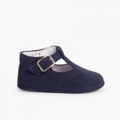 Suede T-Bar Shoes for babies with buckle Navy Blue