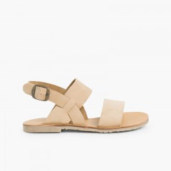 Wide Straps Nubuck Sandals  Beige