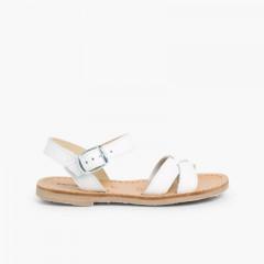 Plain Crossed Strap Flat Sandals White