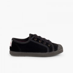 Velvet Lace-up Trainers  Black
