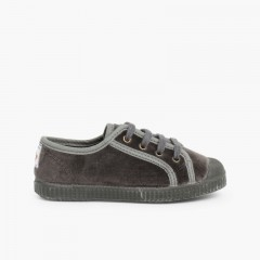 Velvet Lace-up Trainers  Grey