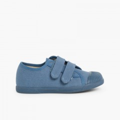Canvas trainers rubber toes two velcro straps Blue denim