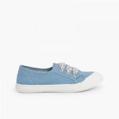 Lace-Up Rubber Toe Cap Canvas Trainers Blue
