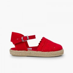 Girls Buckle Up Brogue Espadrille Wedge Red
