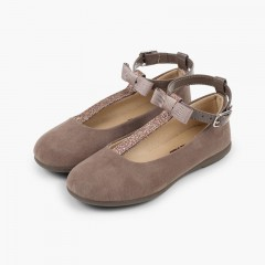 T-Bar Mary Janes with Glittery Strap Taupe