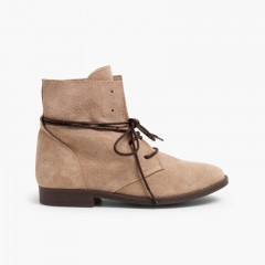 Boots Split Leather Waxed Laces Beige