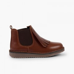 Girl's leather boots with fringed tongue  Brown