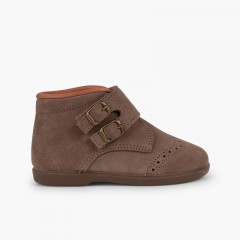 Suede and velcro booties with decorative buckles Taupe