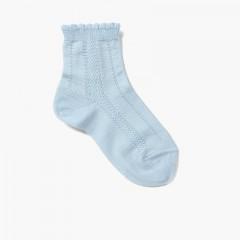 Short Socks with Scalloped Edges Azul Bebé