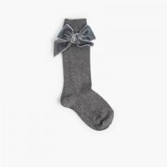 Children's socks with velvet bow Grey
