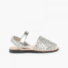 Glitter Menorcan Sandals with loop fasteners fastening Silver