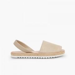 Menorcan sandals Girls and women avarcas shiny suede Beige