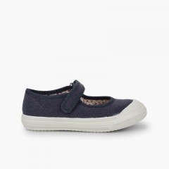 Velcro Mary Janes with Reinforced Rubber Toe Navy Blue
