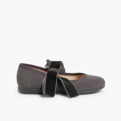 Mary Janes with a velvet bow for girls Grey