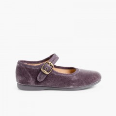 Girls Buckle Up Velvet Mary Janes Grey