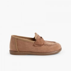 Boys Faux Suede Mask Loafers Taupe