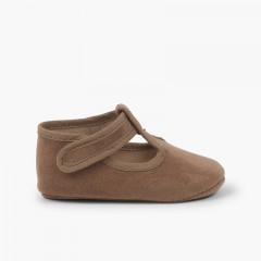 Velcro Serratex Baby Boy T-Bar Shoes  Taupe