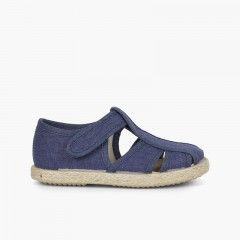 Canvas and Jute T-bar Sandals with Openings Navy Blue