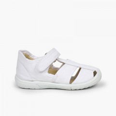 Boys' Velcro T-Bar Sandals with Reinforced Toe White