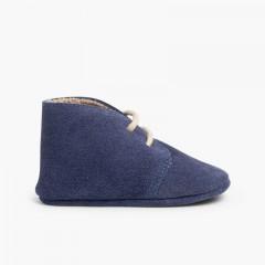 Booties desert boots furry inner liner  Blue denim