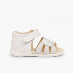 Leather sandals girls first step velcro and star White