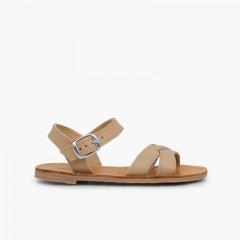 Plain Crossed Strap Flat Sandals Sand