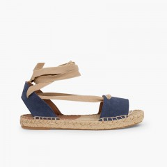 Suede and Esparto Sandals with Ribbons Blue