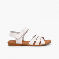 Girls' Leather Sandals with Crossed Straps and Velcro Closure White